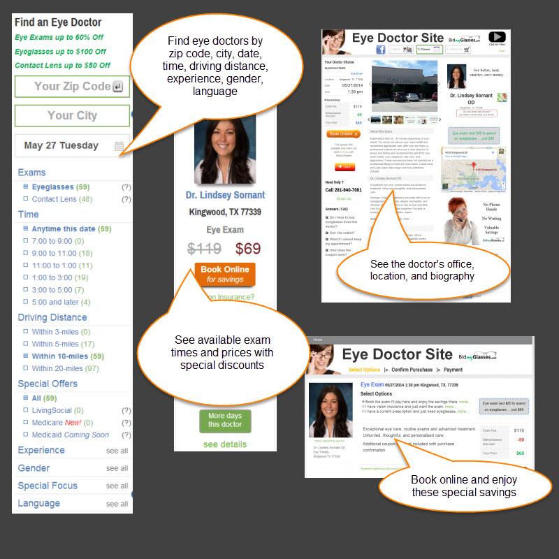 BidmyGlasses Eye Exam Search Process